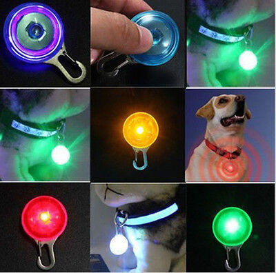 Vivid Pet Dog Cat LED Flashing Collar Safety Night Light Pendant With Battery PA