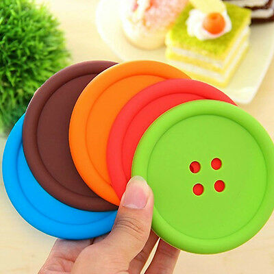 4x New Silicone Placemat Button Coasters Cushion Mug Cup Holder Tea Cup Pad Mat