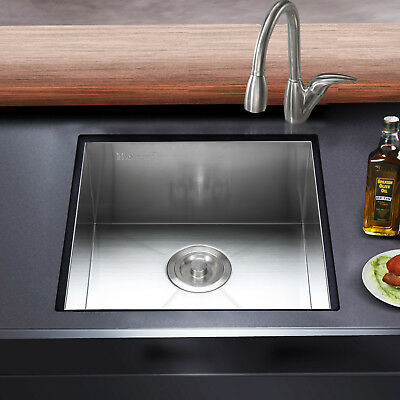 "19 Gauge 17""x17"" Stainless Steel Kitchen Sink Square Basin Single Bowl Top mount"