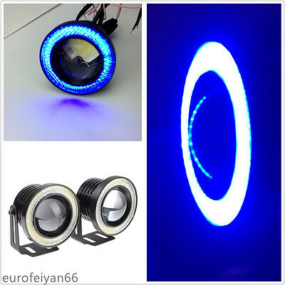 "One Pair 10W 2.5"" COB Angel Eye Halo Glass Lens Blue Car Projector LED Fog Light"