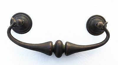 "French Provincial MCM Antique Hardware Bail Pull Brass Drawer Pull 5"" on center"