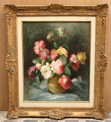 Magnificent French Still Life Oil On Canvas Painting Signed