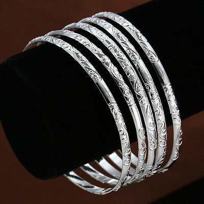 Fashion Women 925 Silver Beauty Carving Thick Simple Bracelet Jewelry 5pcs/lot