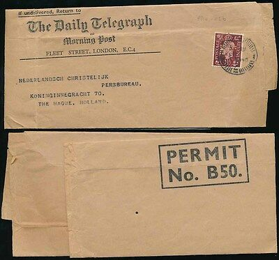 Gb 1940 Newspaper Wrapper Daily Telegraph + Dt Perfin Printed Matter Pmk Holland