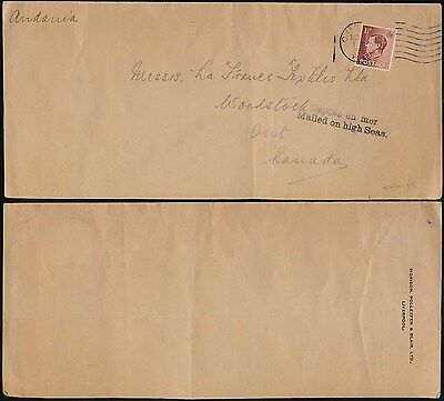 GB KE8 1936 to CANADA MAILED on HIGH SEAS + PERFIN MORISON POLLEXFEN BLAIR ENV