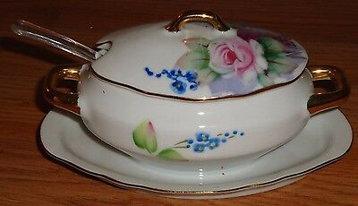 Lefton China Sugar Bowl With Lid and Spoon Floral (or Jelly Jam bowl)