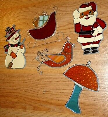 Stained Glass Look Christmas Ornaments lot of 5 Santa Snowman Partridge Sleigh..