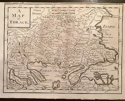 1730 DISPLAYABLE Copper-Plate MAP ENGRAVING Ancient  Roman Empire THRACE