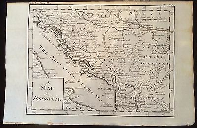 1730 DISPLAYABLE Copper-Plate MAP ENGRAVING Ancient  Roman Empire ILLYRICUM