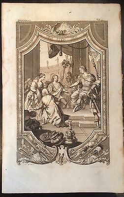 1729 DISPLAYABE Copper-Plate  ENGRAVING Ancient Roman Emperor Holding Court