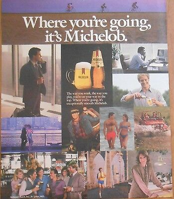 1985 original beer AD Where you're going it's MICHELOB Bar Decor