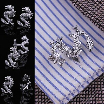Mens Stainless Steel Wedding party Silver gold Chinese dragon Shirt Cufflinks