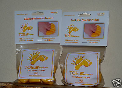 Lot 2 Toesavers Toe Nail Savers Tanning Tan Bed Protection Blocks 100% Uv Rays