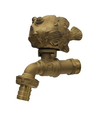 Brass Garden Tap Faucet Puffer Vintage Spigot Fish Home Decor Water Outdoor