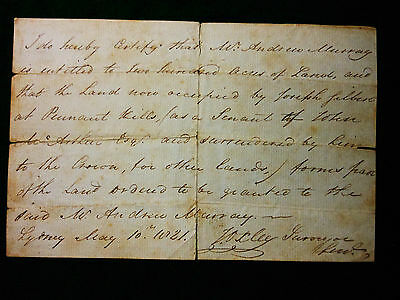OXLEY, John. [Manuscript]. [Certificate of land entitlement]. Sydney: 10th May 1