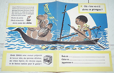 Protege-Cahier Margarine Astra 1958 Colonies Tahiti Noix Coco Huile