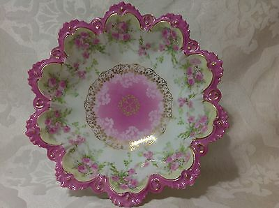 1884-1909 Beautiful New Habsburg/MZ Austria Scalloped Pink/Gold Floral Bowl