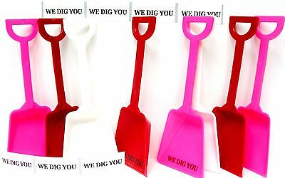 "24 ""We Dig You"" Stickers & 8 ea Red White Pink Toy Shovels Mfg USA*"