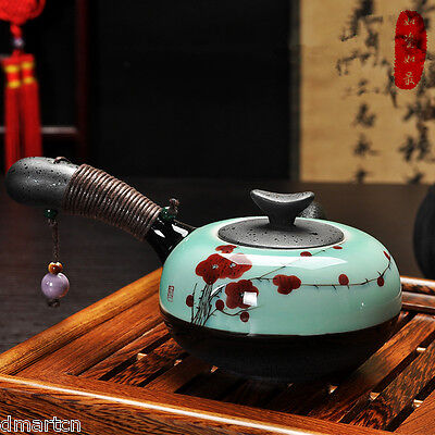 Japanese Style Hand Painted Red Plum Ceramics Teapot With Handler  Teapot