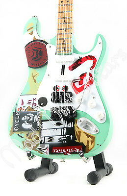 Miniature Guitar BILLIE JOE ARMSTRONG with free stand. GREEN DAY. BJ Blue