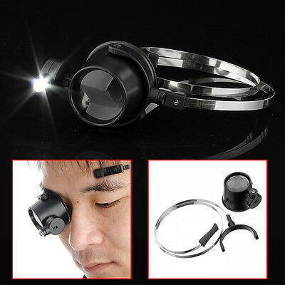 LED 15X Magnifier Eye Loupe Head Band Jewelers Magnifying Glass Watchmaker Hot