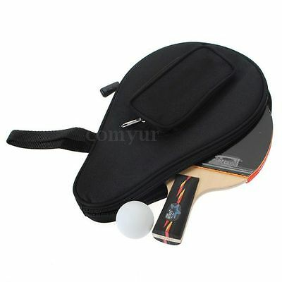 Black Table Tennis Racket Ping Pong Paddle Bat Bag Pouch with Ball Case
