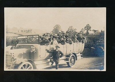 Somerset WELLINGTON Early Motor Bus full of passengers c1910/20s? RP PPC
