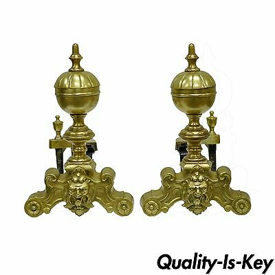 Pair of French Louis XV Style Cannonball Figural Brass Face Andirons Chenets vtg