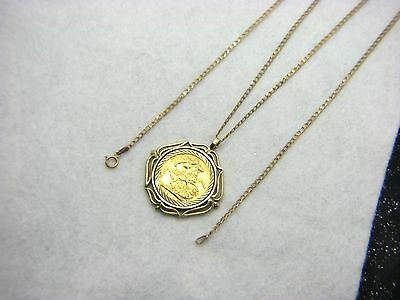 9ct Pendant & 22ct Yellow Gold George V Full Sovereign Coin Pendant Dated 1913