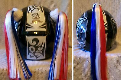 Motorcycle Helmet Pigtails or Pony Tail - CUSTOM - Red, White, and Blue
