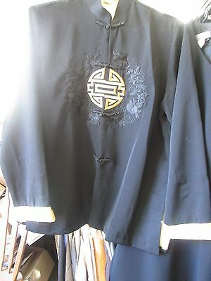 Vietnamese Women's 100% Silk Black & Gold Embroidered Jacket- Marked Xxl