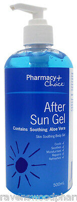 Pharmacy Choice After Sun Gel 500mL Convenient Pump Bottle ::Soothe Sore Skin::