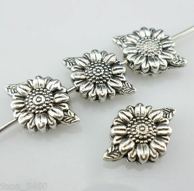 16//48pcs Tibetan Silver Oblate Flower Spacer Beads 3x10mm Jewelry Findings