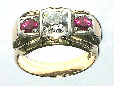 Antiker Diamant Rubin Ring Gold 585  Ø 16mm Ringgröße 51 Brillant ca. 0,5ct