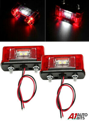 2 X Red Led Number Plate Lamps Marker Lights Truck Trailer Lorry Caravan 24V