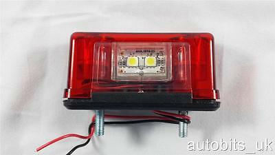 2 pcs 4 LED Rear Tail License Number Plate Light Lamp 12V Trailer Van Horsebox