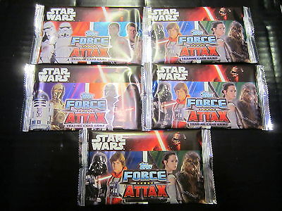 DISNEY TOPPS - 5 BOOSTERS de 5 cartes STAR WARS Réveil - Série 2 - FORCE ATTAX