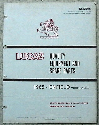 LUCAS ROYAL ENFIELD Motorcycles Equipment & Spare Parts 1965 #826/65