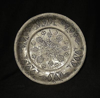 1700's. Antique Islamic Ottoman Tin Plated Copper Plate, Hand Hammered
