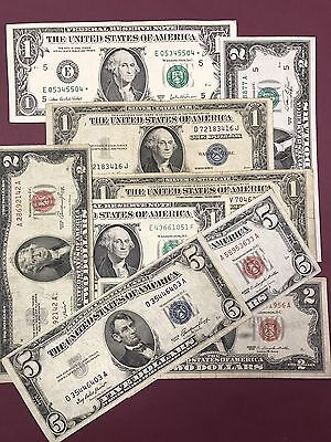 Silver Certificate, Red Seal,  $1.00 , $2.00  & $5.00  Estate Sale