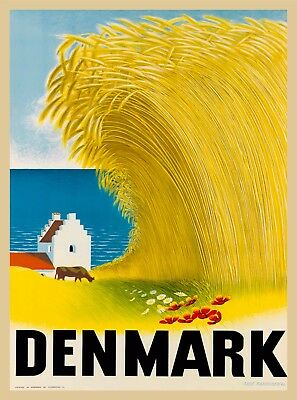 Denmark Danish Hay Scandinavia Vintage Travel Advertisement Art Poster