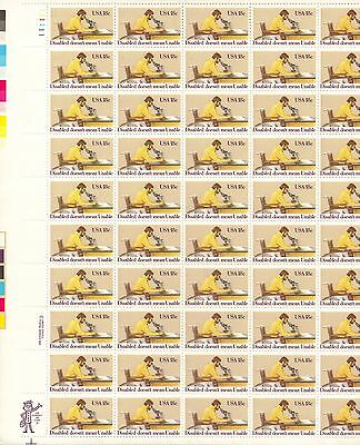 USA-United States 1981 18c Postage Disabled Year Sheet Scot 1925 MNH