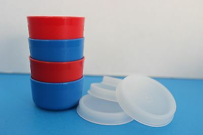 Tupperware Blue & Red SMIDGETS w/Sheer Seals~Set of 4~