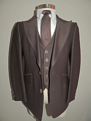 Vintage Mens Ernesto Bellini Brown Poly Blend 2 Piece Jacket/vest Suit Size 38S