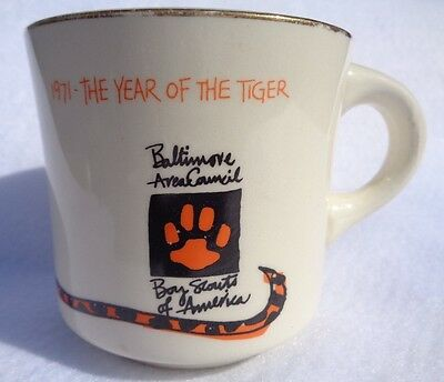 Cub Scout 1971 Year of the Tiger Mug, Baltimore Area Council BSA