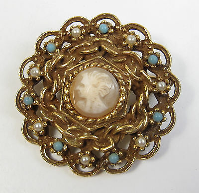 Vintage GOLDETTE Victorian Revival Miniature Cameo Gold Brooch Etruscan Style