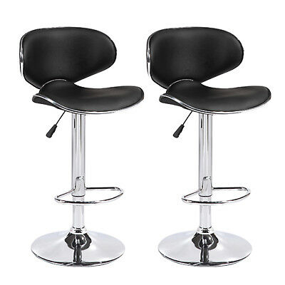 Set of 2 Black Counter Height Adjustable Leather Bar Stools Swivel Dining Chairs