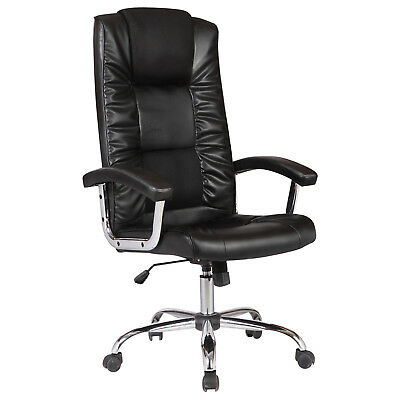 Ergonomic Back Adjustable Office Chair PU Leather Computer Desk Furniture Black