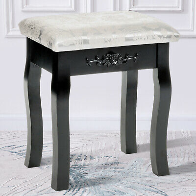 Floral Design Dressing Vanity Stool Makeup Pad Cushioned Chair Piano Seat Black