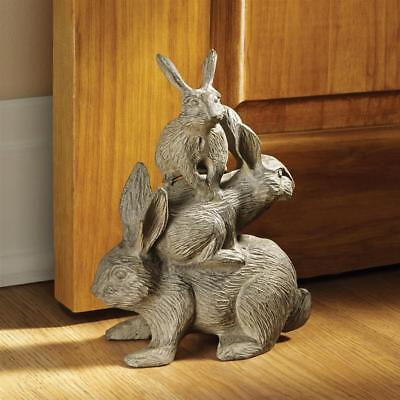 Outdoor EASTER BUNNY RABBIT CAST IRON STATUE Yard Garden Door Stop Sculpture Art